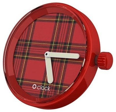 O clock klokje tartan red