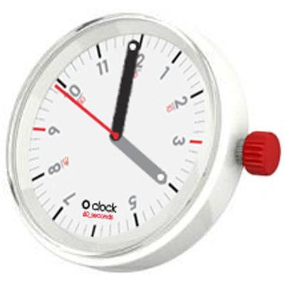 O clock klokje 60 seconds red on white