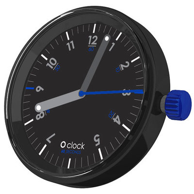 O clock klokje 60 seconds blue on black