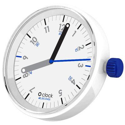 O clock klokje 60 seconds blue on white