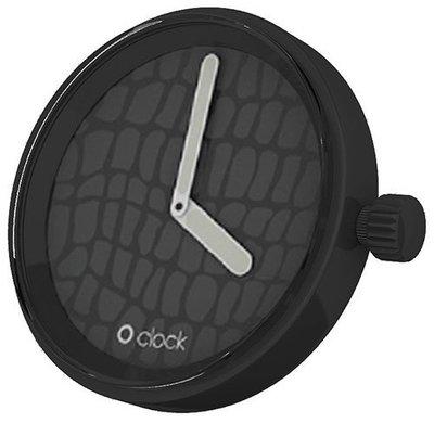 O clock klokje Safari Crocodile Black