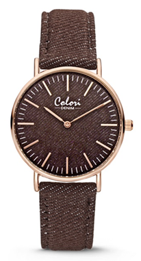 Colori Watch Denim Brown horloge