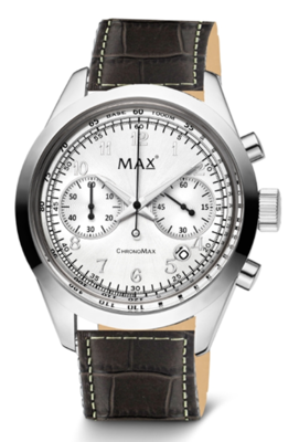 MAX ChronoMax Silver Black Leather horloge