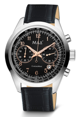 MAX ChronoMax Black Leather horloge