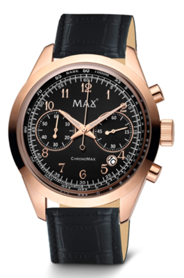 MAX ChronoMax Gold Black Leather horloge
