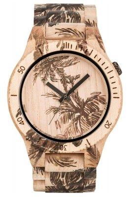 WeWOOD Allium Print Palm Beige horloge