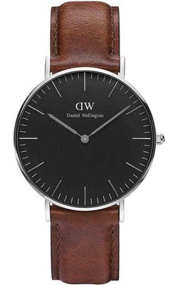 Daniel Wellington Classic Black St Mawes Silver 36 mm horloge