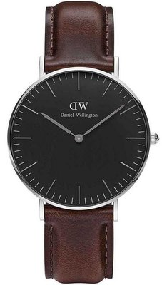 Daniel Wellington Classic Black Bristol Silver 36 mm horloge