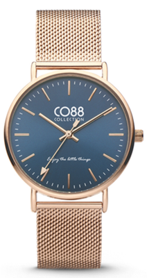 CO88 Steel Rosé blue horloge