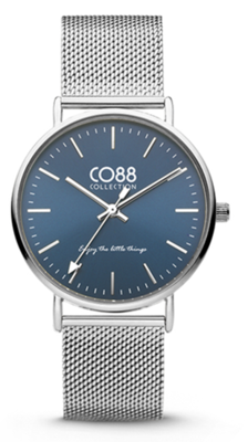 CO88 Steel Silver blue horloge