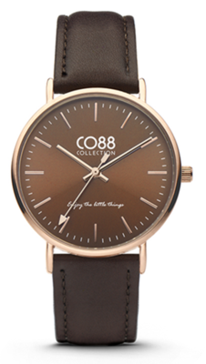 CO88 Leather Dark Brown gold horloge