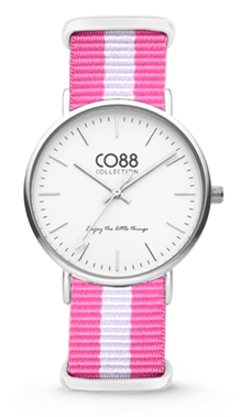CO88 Nato Pink white silver horloge