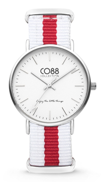 CO88 Nato White red silver horloge