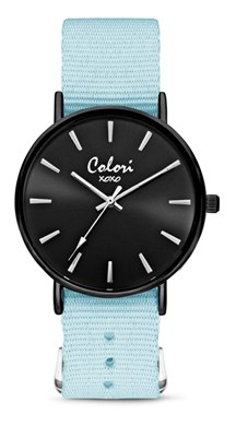 Colori Watch XOXO Nato Light Blue Black horloge