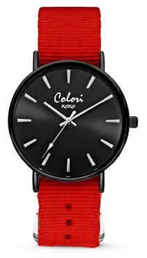 Colori Watch XOXO Nato Red Black horloge