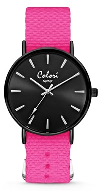 Colori Watch XOXO Nato Dark Pink Black horloge