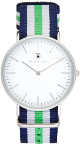 Black Oak Velutino blue white green 40 mm horloge